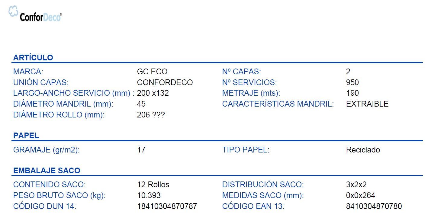 DATOS TECNICOS PAPEL HIGIENICO INDUSTRIAL DISPENSADOR CENTRAL