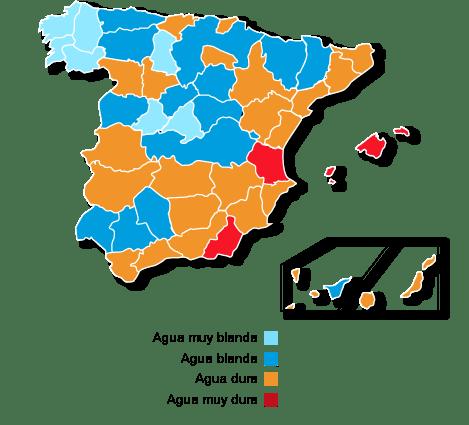 MAPA AGUAS DURAS ESPAÑA